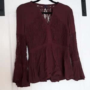 AE lace bell sleeve blouse